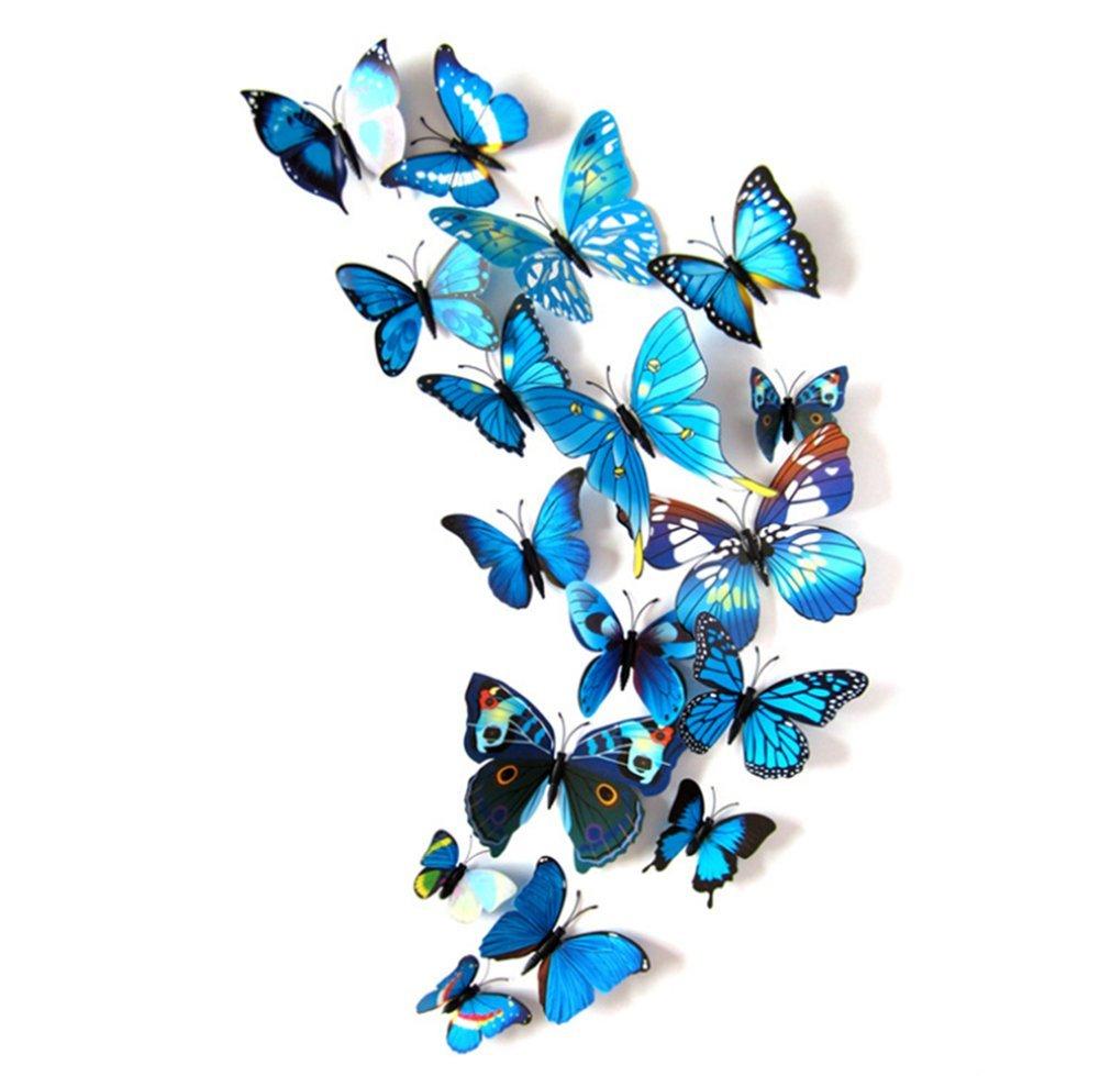 12Pcs Adhesivos Pegatinas de Mariposa 3D, Mariposas Etiquetas Engomadas Decoración de La Pared para Hogar, Casa, Habitación, Salón, Café Color Azul Beauty DIY Mart