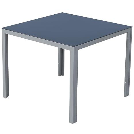 Outsunny Tavolo da Giardino Quadrato Tavolo da Pranzo Moderno Design ...