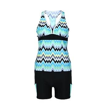 f962146b334 Womens Tankini Swimwear - Inkach Striped Printed Bathing Suit Bottoms  Separates Set - Plus Size -