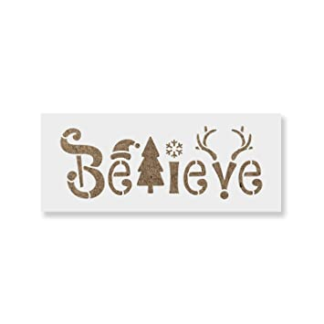 Christmas Stencils For Wood.Believe Christmas Stencil Diy Stencils That Work Great For Wood Signs And Diy Craft Projects