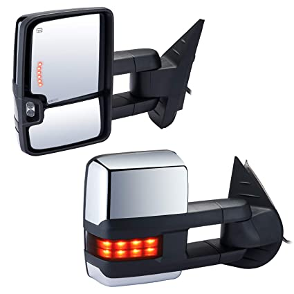 Towing Mirrors Automotive Exterior Mirrors for Chevy GMC 2007-2014 Silverado//Sierra Pair Rear View Mirrors with Power Control Heated Turn Signal Backup Light Manual Telescoping Folding