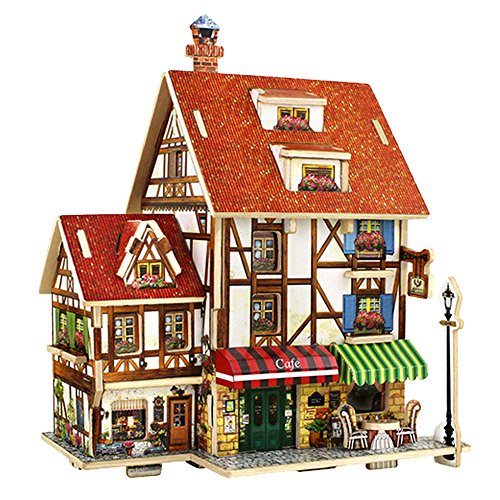 Gbell  Dollhouse Miniature DIY House Kit Creative,3D Puzzle Uptown Wooden House Furniture Uptown Handcraft Mini Castle Handmade Mansion Playhouse Cottage Artwork Models Toy for Girls - Hello Kitty Princess Castle