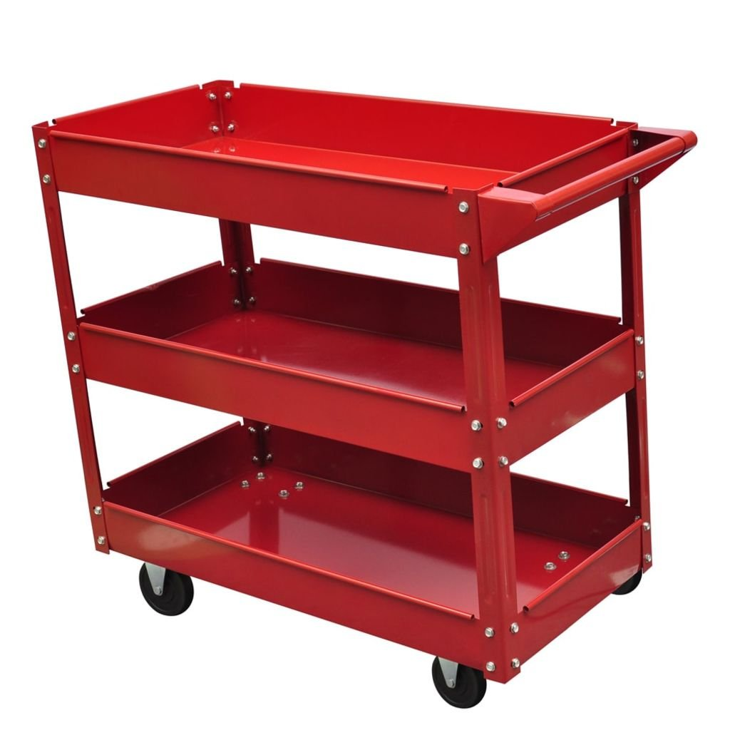 vidaXL Rolling 3 Tray Utility Cart Dolly 220lbs Storage Shelves Workshop Garage Tool