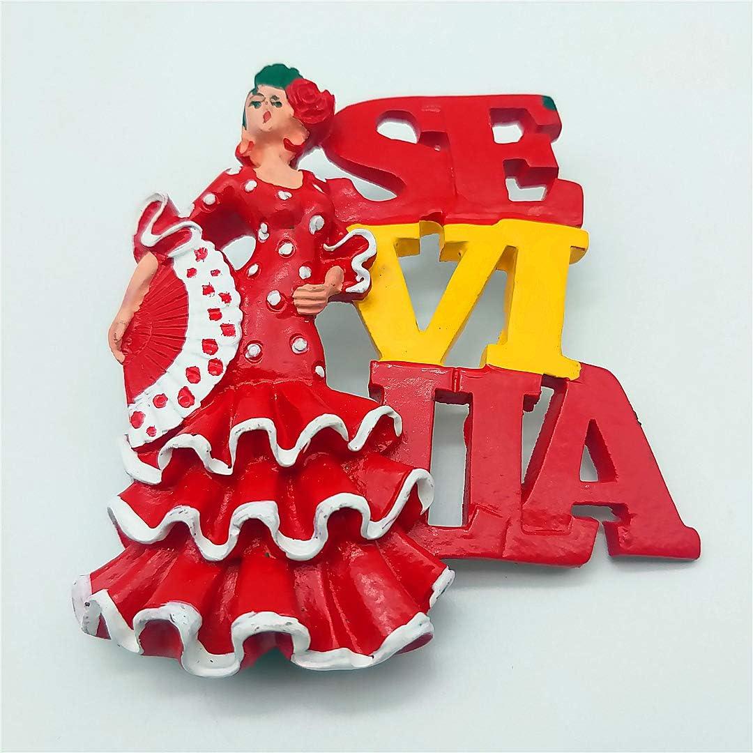 Hqiyaols Souvenir Mujer Baile Flamenco Sevilla España Refrigerador 3D Imán de Nevera Viaje Ciudad Recuerdo Colección Cocina Decoración Tablero Blanco Etiqueta Resina: Amazon.es: Hogar