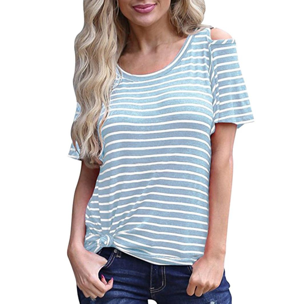 KingWo New Fashion Women Short Sleeve Cold Off the Shoulder Striped Casual Tunic Long Top T-Shirts (XL, Blue)