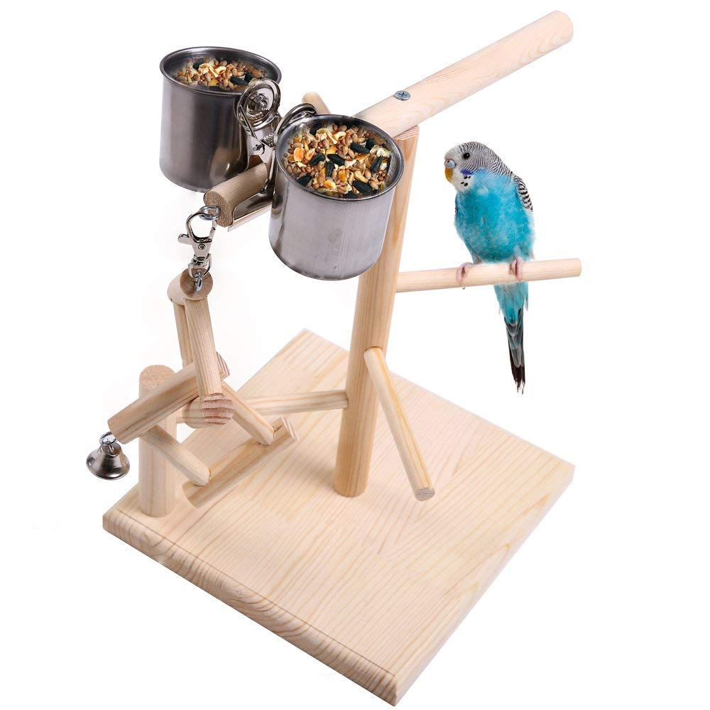 Litewood Wood Perch Gym Stand Playpen Parreds Playstand Bird Playground Ladders Exercise Playgym with Feeder Cups for Cockatoo Parakeet Cage Accessories Training Toy (Bird Playgym)