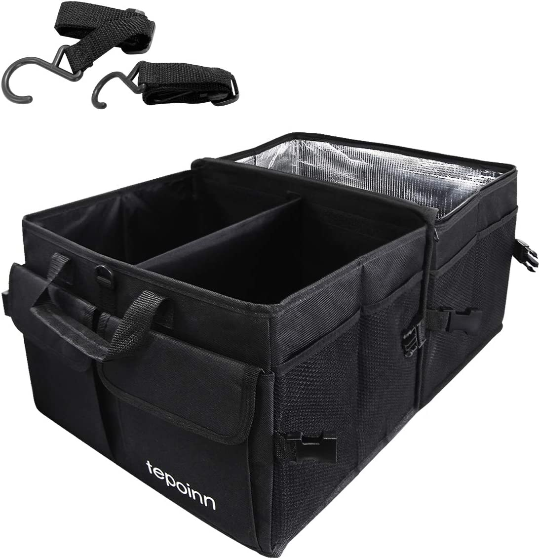 Tepoinn Car Trunk Organizer with Cooler, Compartment Collapsible Portable Trunk Storage Container with Non Slip Bottom Strips, Foldable Waterproof Cover Car Storage Box for SUV