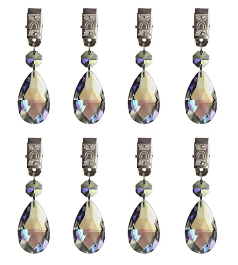 Hyamass 8pcs Metal Clip Ab Crystal Glass Teardrop Prisms Pendant Tablecloth Weights by Hyamass