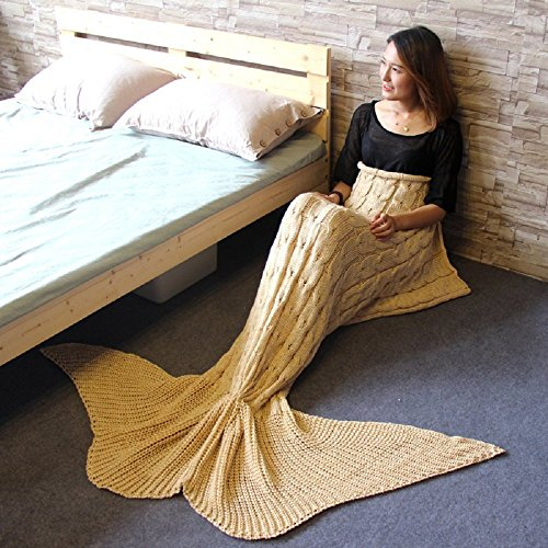 [Mermaid tail Blanket Acrylic Cozy Fishtail Blanket Sleeping Bag for Adult and Teen,Beige - Prosshop] (Easy Goddess Costume)