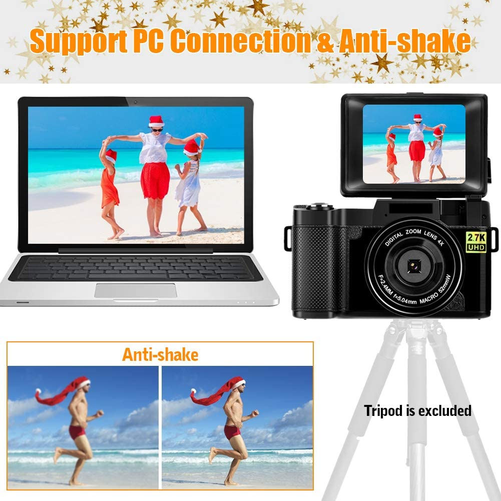 Digital Camera Vlogging Camera,24MP Full HD 2.7K 25FPS YouTube Camera with Retractable Flashlight and 3.0 Inch Flip Screen