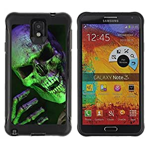 King Case@ Halloween Scary Green Skull Vampire Rugged hybrid Protection Impact Case Cover For Note 3 Case ,N9000 Leather Case ,Leather for Note 3 ,Case for Note 3 ,Note 3 case