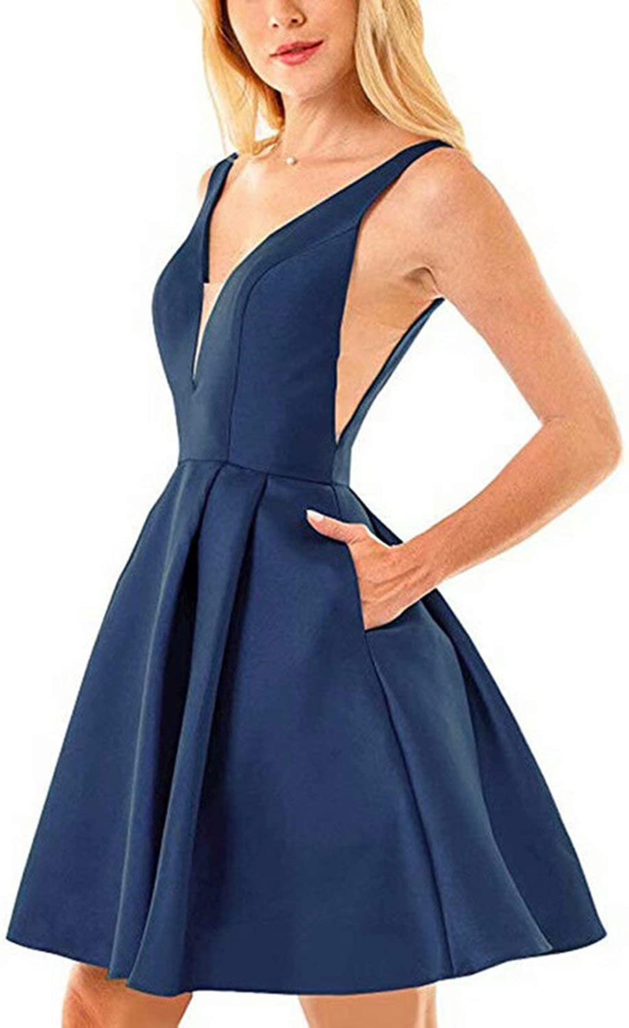 Navy bluee Rmaytiked Womens V Neck Prom Dresses Short 2019 Satin A Line Homecoming Dresses with Pockets