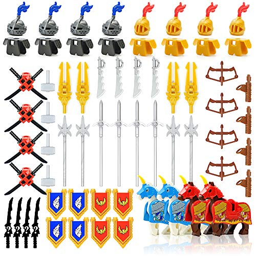 Minifigures Weapon Pack Accessories Kit Knight Weapons Set Including Armor Helmet Shield Barding Horses Designed for Minifigures Compatible with Minifigures of All Major Brands (Medieval Weapon) (Lego Medieval Sets)
