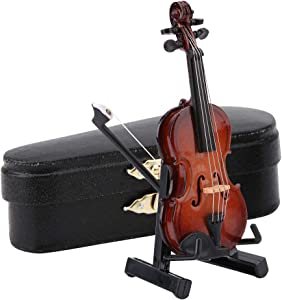 Miniature Violin Model,Mini Musical Instrument Decor Gift with Stand Case Dollhouse Accessories,Gift for Your Family and Friends