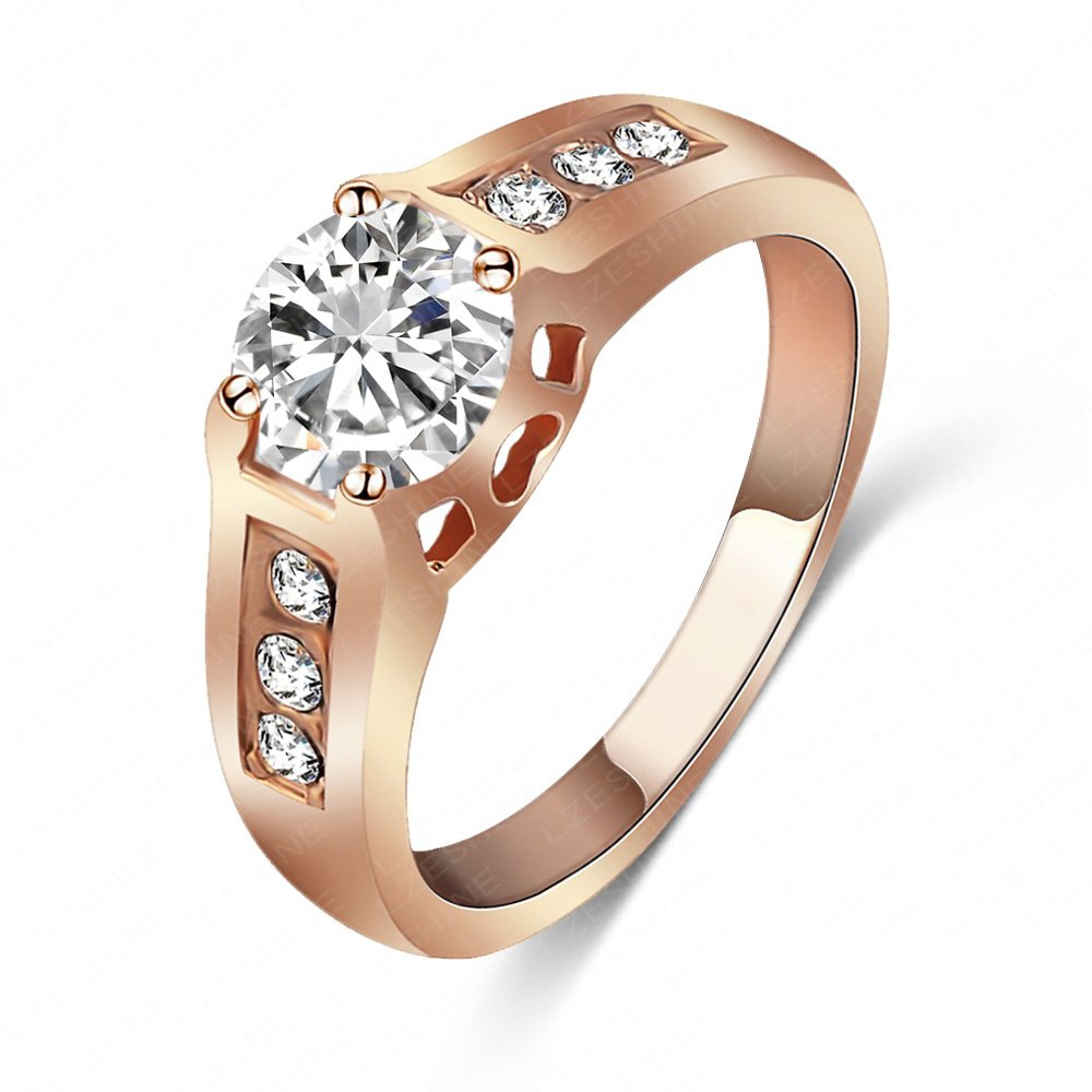 Evertrust (TM)LZESHINE Brand Wedding Ring 18K Rose Gold Plated Engagement Ring With Round Austrian Crystals - Ri-HQ1002-A-2