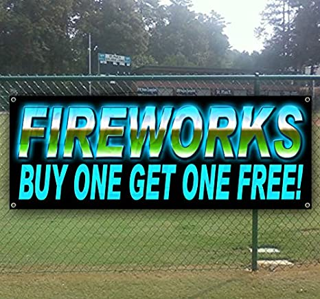 Many Sizes Available Advertising Fireworks Extra Large 13 oz Heavy Duty Vinyl Banner Sign with Metal Grommets New Flag, Store