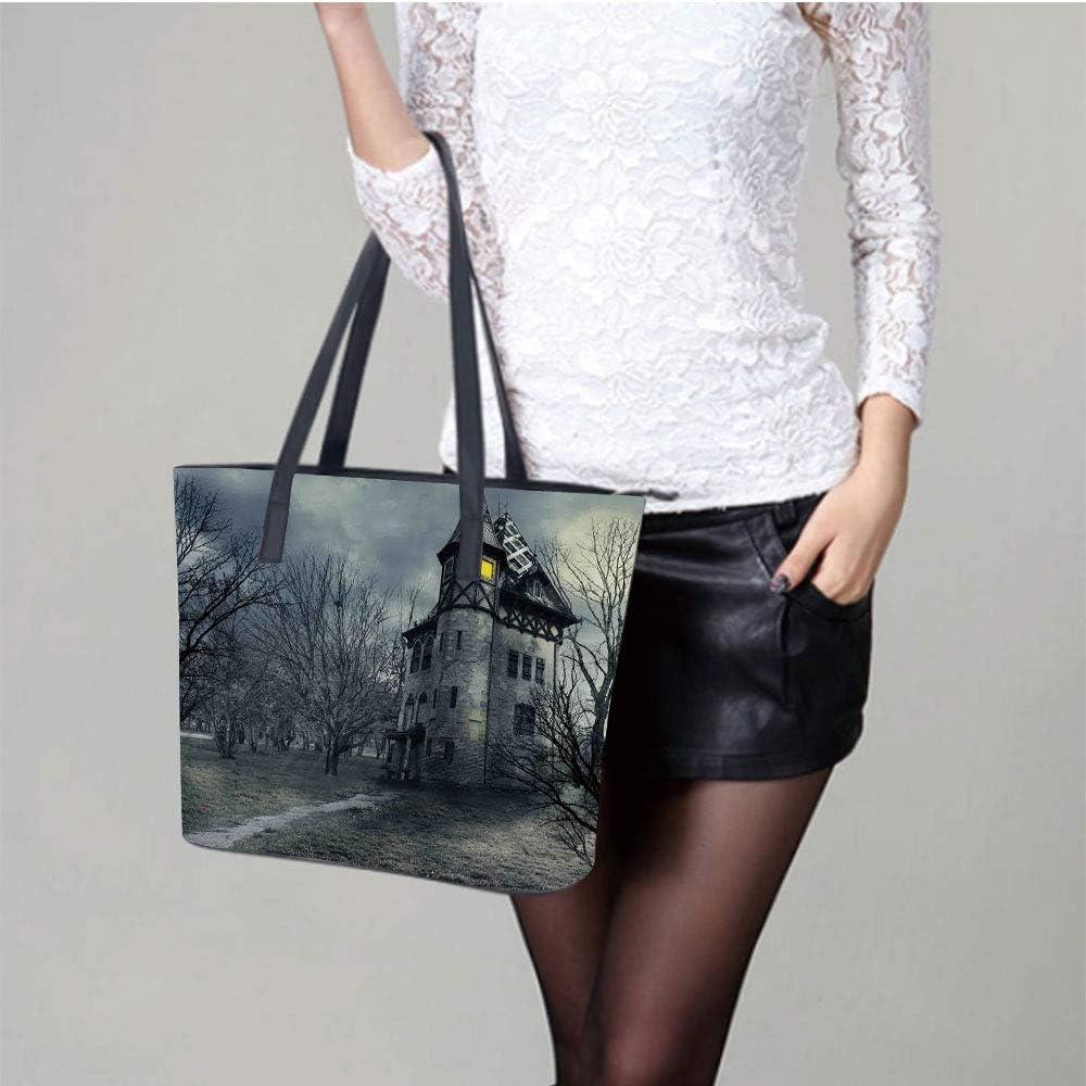 Halloween Haunted Horror Women Leather Laptop Tote Office Shoulder Handbag Computer Briefcase
