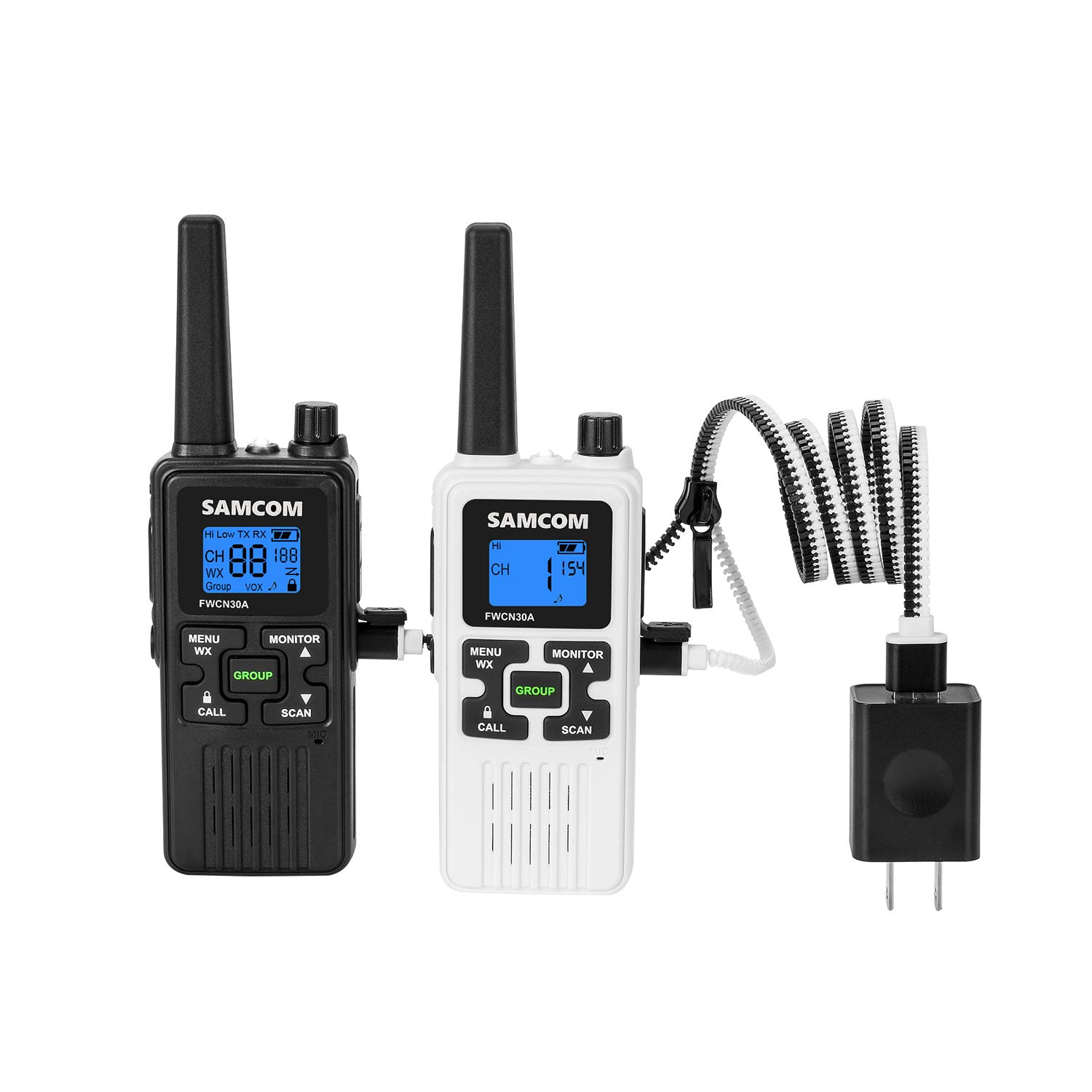FRS Two Way Radio 22CH with 1250mAh Rechargeable Battery LCD Display LED Flashlight, License Free Walkie Talkies 36 Miles Long Range with Group VOX SCAN NOAA Call Alert Function(Black+White) by SAMCOM