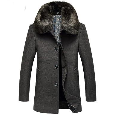 iPretty Herren Wolljacke Winter verdickte Mantel Männer Wintermantel Trenchcoat Parka+Abnehmbare Pelzkragen