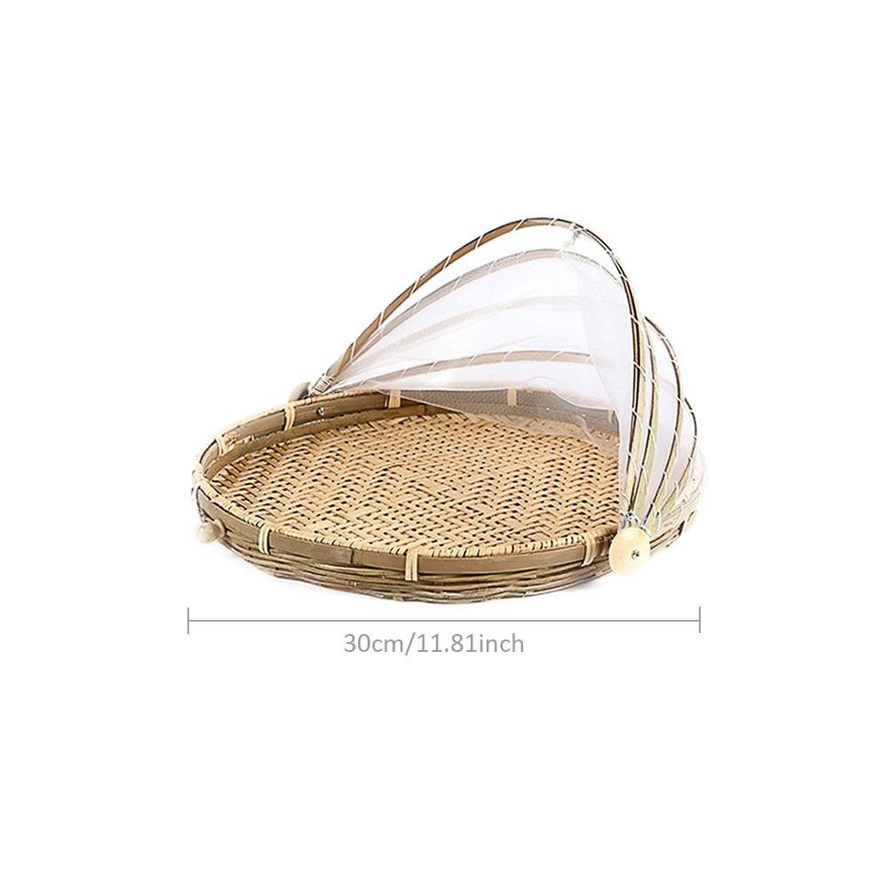 Starter Handgewebte Bambus Löcher Insekt-Proof Staubdicht Korb Runde Dustpan Korb Picknick Korb Essen Zelt Korb mit Mesh Gaze Cover für Gemüse Obst Brot 无