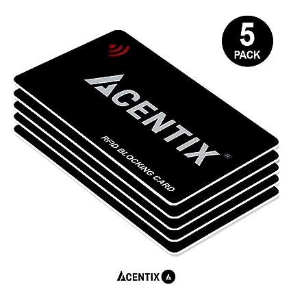 ACENTIX 5 X tarjetas de bloqueo RFID / NFC, Protección de tarjeta de crédito / débito para su cartera o bolso | No se requieren baterías, sin mangas ...