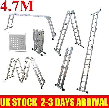 Escalera plegable 14 en 1, con plataforma de andamio, escalera de aluminio multiusos plegable para hasta 150 kg EN 131: Amazon.es: Hogar