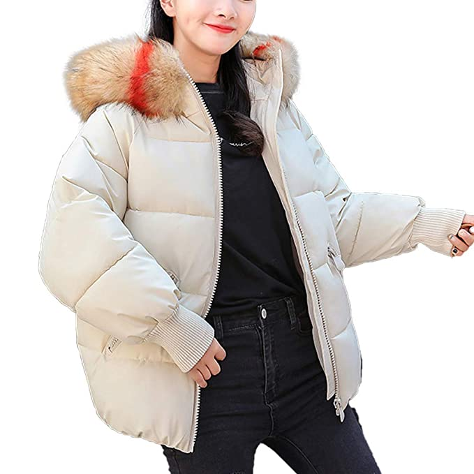 Logobeing Abrigo de Invierno Cálido Chaquetas Mujer Abrigo de Piel Sintética con Capucha Gruesa Chaqueta Delgada