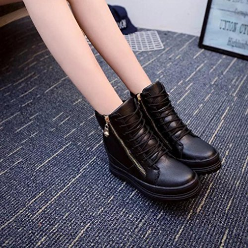 Shoes High Shoe Shoes Platform Black High Wedges Increase Slip Leather Sikye Casual Ladies nq8wx0fT