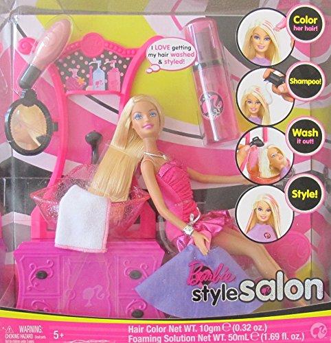 BARBIE Hair STYLE SALON Playset w BARBIE DOLL, SINK w 'Working' SPRAYER, COMMODE w 'Mirror', & More! (2008)