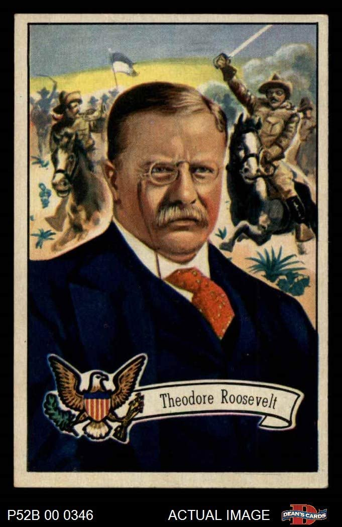 1952 Bowman U.S. Presidents # 28 Theodore Roosevelt (Card) Dean's Cards 5 - EX 61TYjp-yhVL