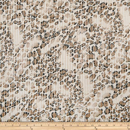 Fabric Polyester Jersey Knit Cheetah Fabric, Black/Taupe, Fabric By The Yard