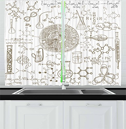 Science Kitchen Curtains by Ambesonne, Science Theme Hand Drawn Style Chemistry Laboratory School Classroom Illustration, Window Drapes 2 Panel Set for Kitchen Cafe, 55 W X 39 L Inches, Umber White