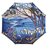 Galleria Stained Glass Landscape Auto-Open Large Quality Rain Stick Umbrella