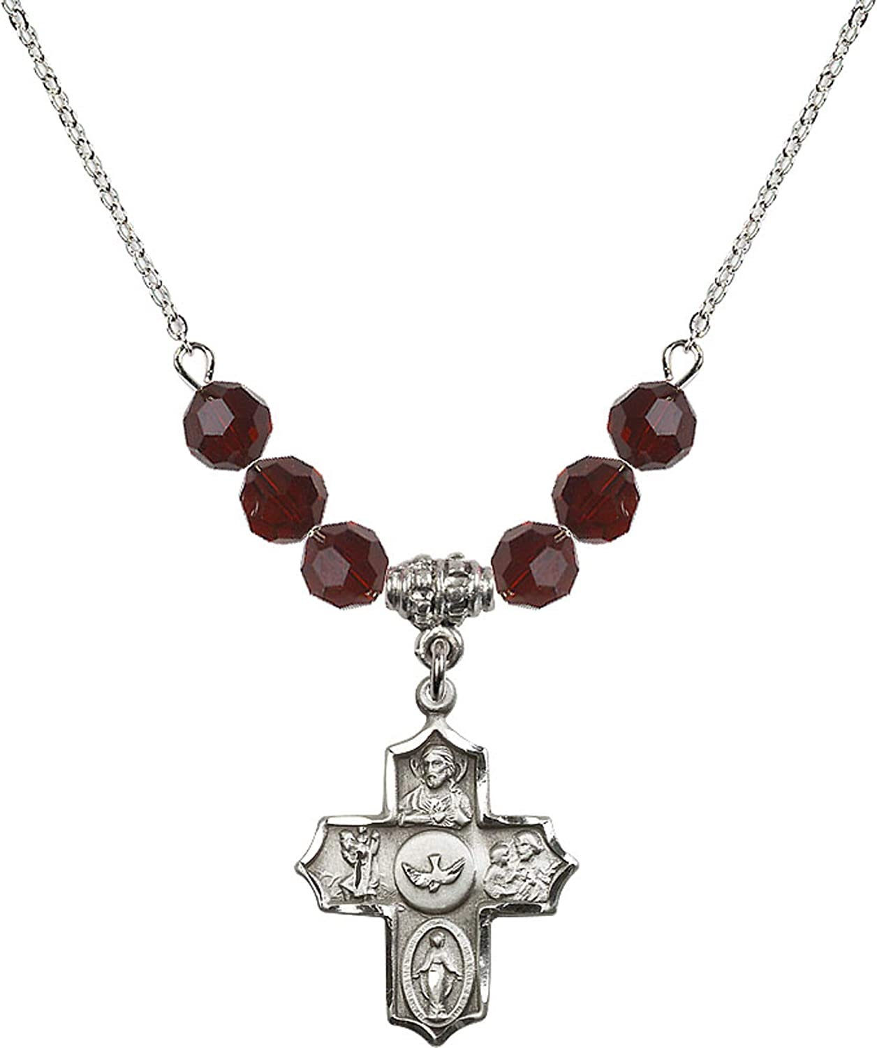 Bonyak Jewelry 18 Inch Rhodium Plated Necklace w// 6mm Red January Birth Month Stone Beads and 5-Way Charm
