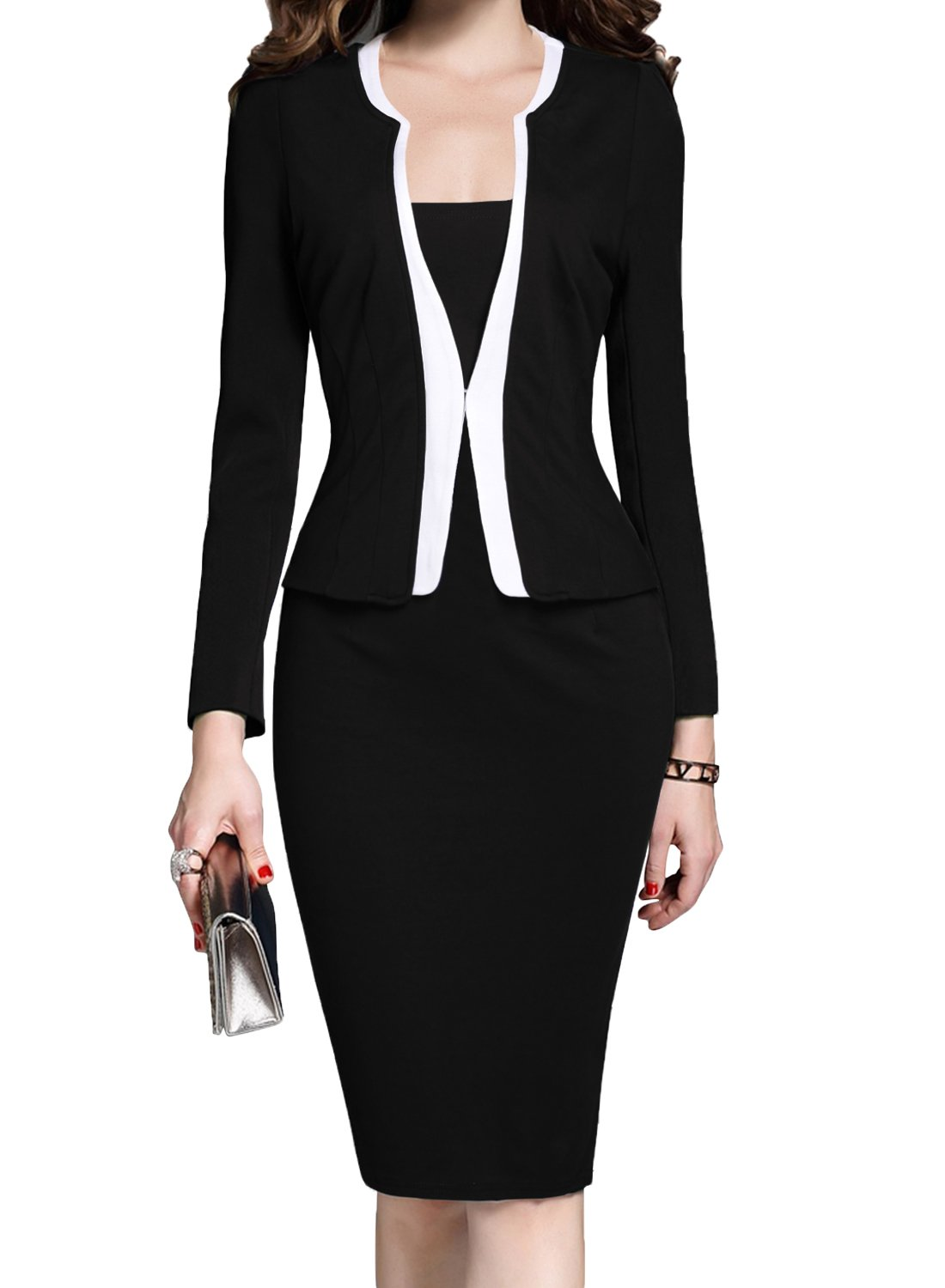 MUSHARE Women's Colorblock Wear to Work Business Party Bodycon One-Piece Dress (XX-Large, Black)