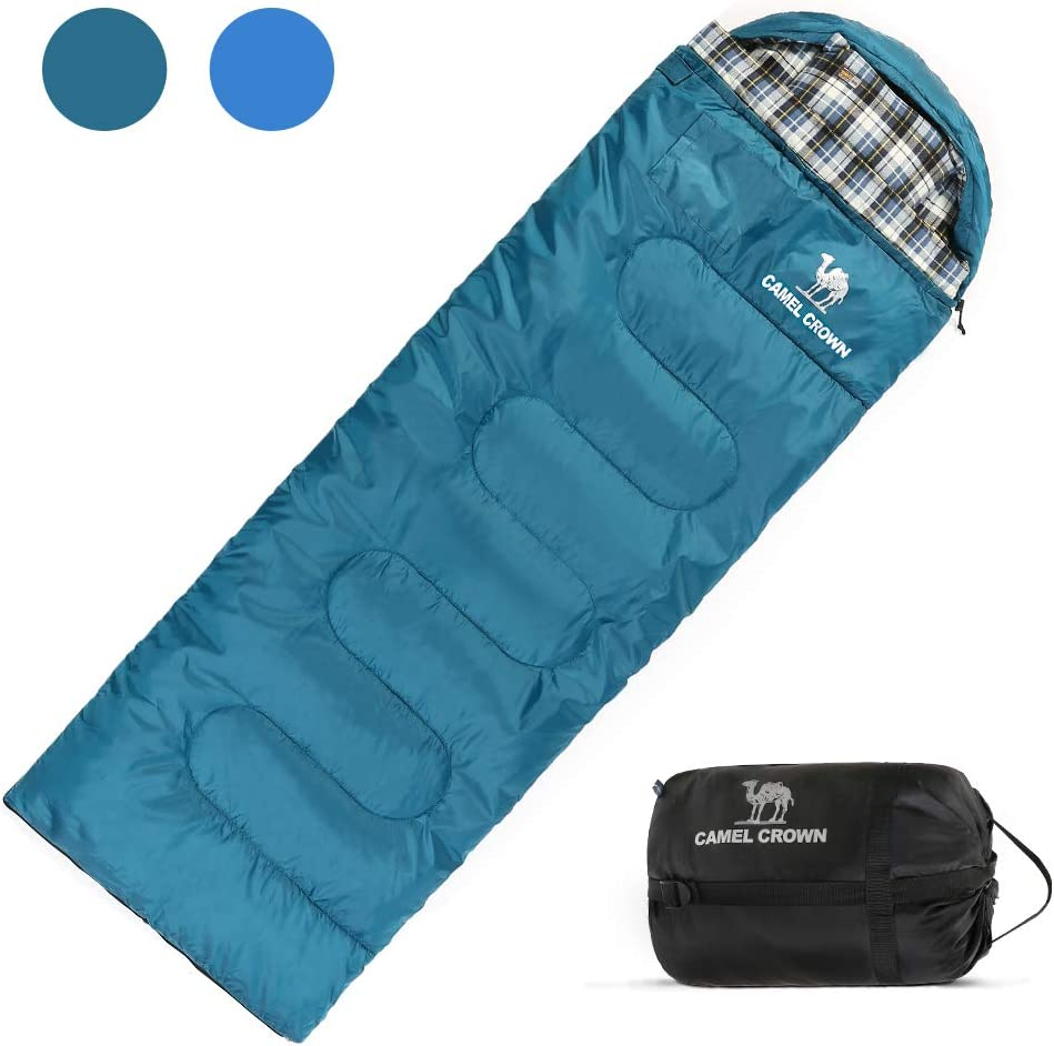 CAMELSPORTS Comfortable Attached Pillow Cotton Sleeping Bag with Compression Sack Lightweight Great for 4 Season Camping, Hiking, Traveling, Backpacking, Outdoor Activities Fits Adults, Kids