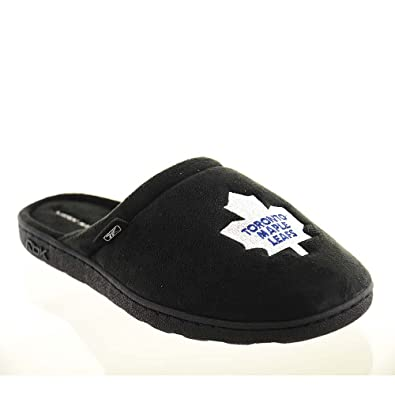 bf04537b9 Reebok Mens Scuff Slippers Size S M 961327 NHL Toronto Mable Leafs Black  Fabric