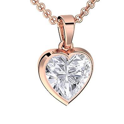 9e98d7bcc050c Amoonic Collier Cœur Femme Or Rose (Argent 925 plaqué Or) avec Pierre  Zirconium Idee