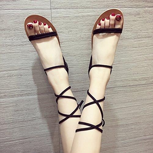 ITTXTTI Sandalias de Las Señoras Sandalias del Estudiante del Verano Zapatos del Calzado Sandalias de la Manera Correas Salvajes Simples Sandalias Retros black