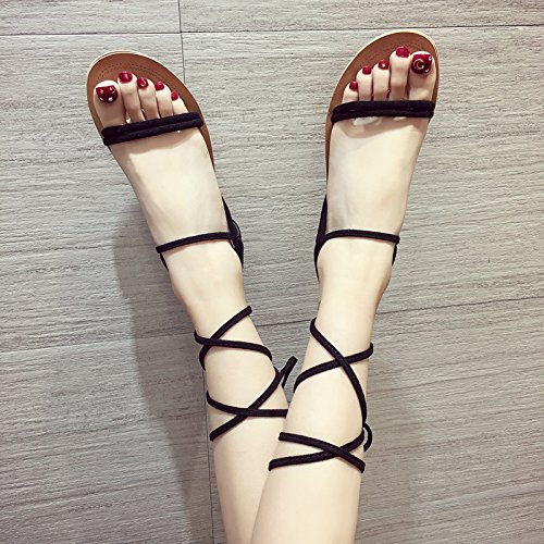 Student Summer donna Sandali ITTXTTI Calzature Sandali Sandali Sandali Simple da black Retro Wild Scarpe Straps Fashion tqIqwSfxE