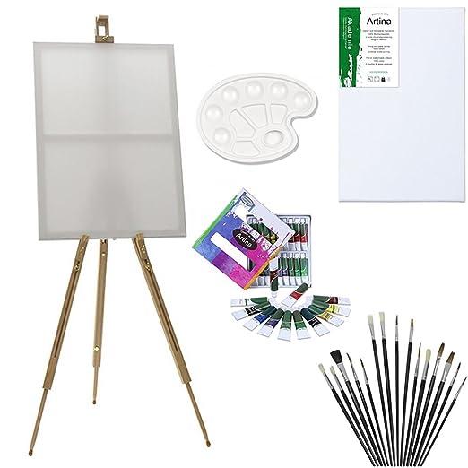 41 opinioni per Artina Set di pittura con cavalletto da campagna Malaga- 12 colori acrilici 1