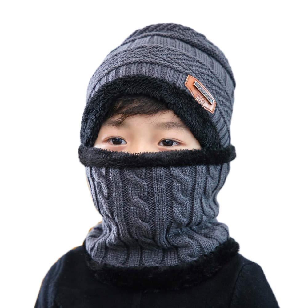 Mallalah Ensemble Bonnet et /écharpe /épais Doux Tricot Chaud Tour de Cou Hiver Enfant pour Ski Gar/çon Fille Cap