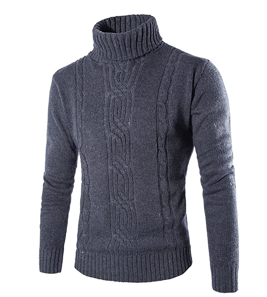 Mens Long-Sleeved Turtleneck Jumpers Roll Polo Neck Knitted Jumper Top Knitted Sweater