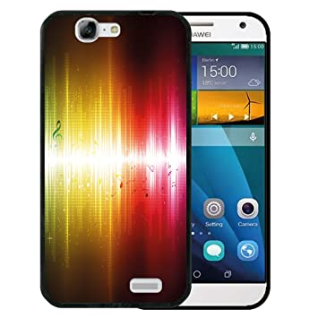 WoowCase Funda Huawei Ascend G7, [Huawei Ascend G7 ] Funda Silicona Gel Flexible Notas Musicales Brillo Abstracto, Carcasa Case TPU Silicona - Negro