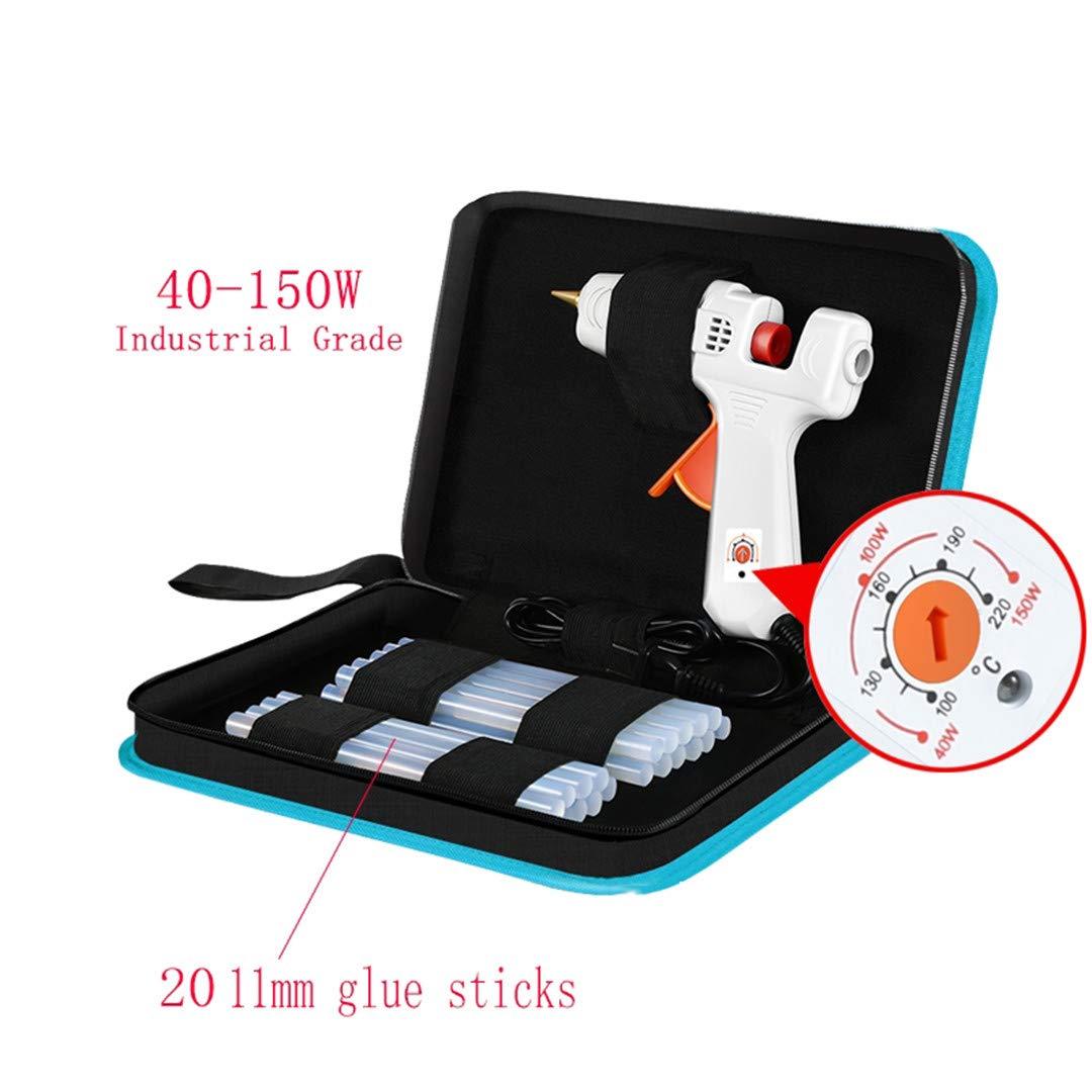 40-150W Industrial Grade Copper Nozzle Hot Melt Glue Gun+20Pc High-Purity High Viscosity Glue Sticks Mini Heat Temperature Tool CN