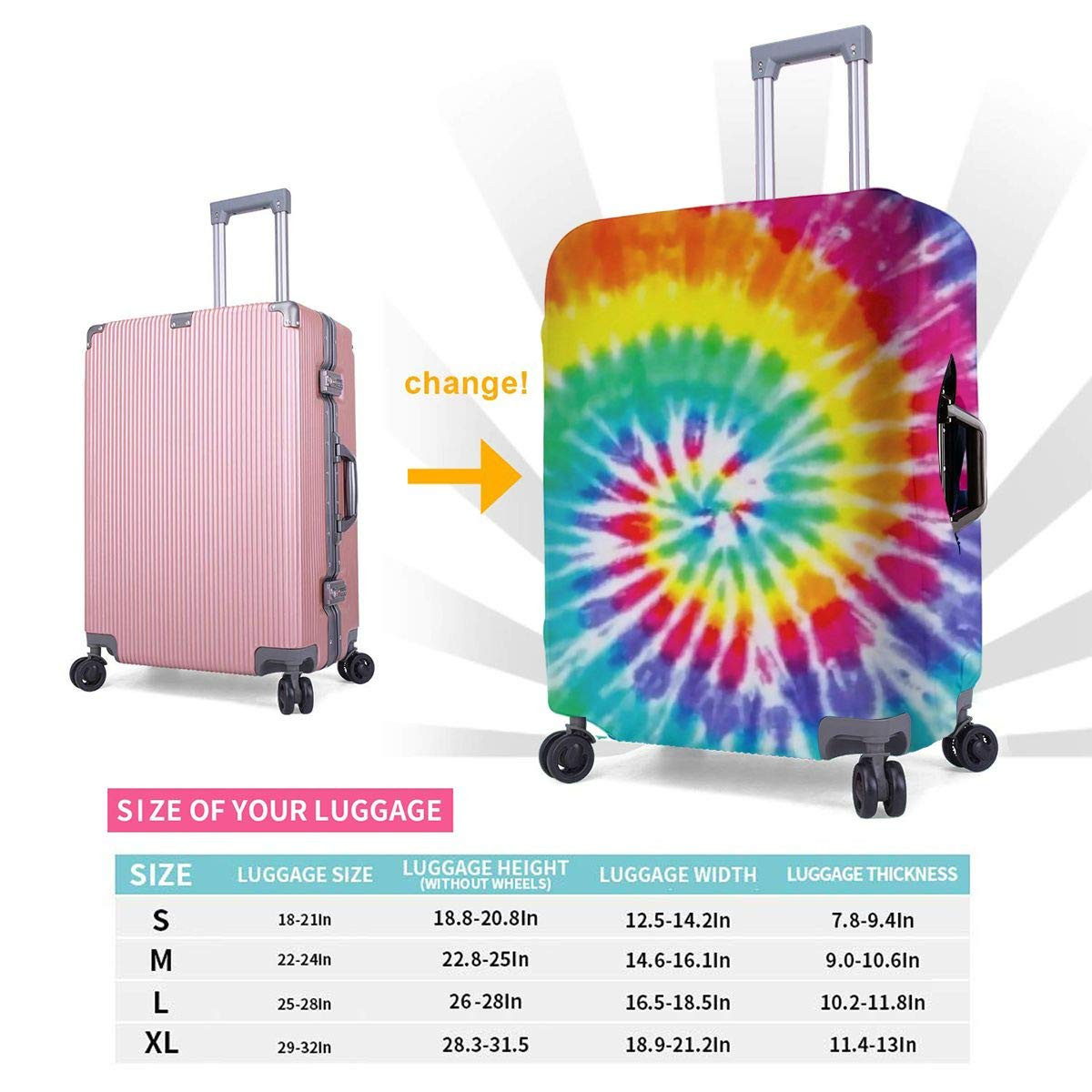 Colorful Tie Dye Universal Fashion Luggage Suitcase Cover Protector