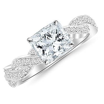 58d2bbae1 Chandni Jewels 0.48 Cttw 14K White Gold Princess Cut Vintage Eternity Love  Twisting Split Shank Diamond Engagement Ring with Milgrain with a 0.2 Carat  I-J ...
