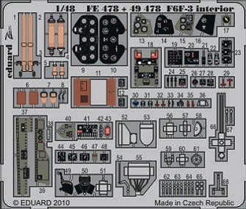 F6F-3 Hellcat Photo Etch Cockpit Details for HobbyBoss (1/48 model kit accessory) by Eduard