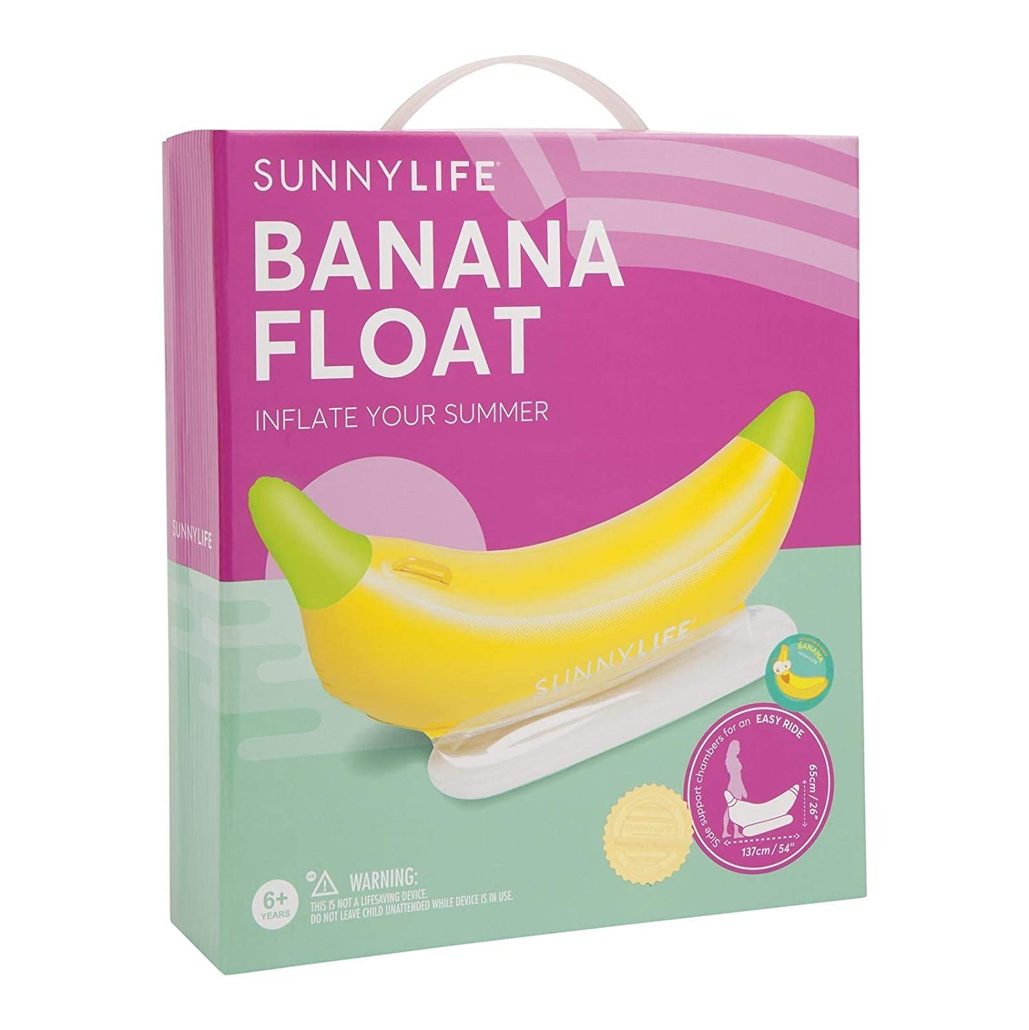 Banana Yellow Sunnylife Kids Inflatable Pool or Beach Floating Seat Raft for Baby or Infants
