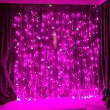 LED Curtain Lights,WONFAST 3*3M 304LEDs 8 Mode Window Icicle Decorative Lights Fairy Rope String Lights for Wedding Christmas Party Backdrops Home Outdoor (Pink)